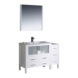 """Fresca - 48"""" White Vanity w/ Side Cabinet & Integrated Sink Cascata Brushed Nickel Faucet - Fresca is pleased to usher in a new age of customization with the introduction of its Torino line.  The frosted glass panels of the doors balance out the sleek and modern lines of Torino, making it fit perfectly in eithertown or country decor."""