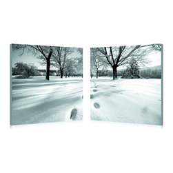 """Wholesale Interiors - Telltale Trail Mounted Photography Print Diptych - Embark upon a snowfall-laden stroll laced with the stillness and solitude only winter can bring. Telltale Trail is a two-piece modern wall art set: two MDF wood frames display half of the photograph, each printed on a piece of waterproof vinyl canvas. Chinese-made, the photo diptych comes ready to hang and fully assembled, though wall mounting hardware is not included. To clean, wipe with a dry cloth. Product dimension: 19.68""""W x 1""""D x 19.68""""H."""