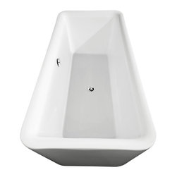 Wyndham Collection - Emily 69 inch Deep Soaking Bathtub in White (Freestanding) with Chrome Drain - The Emily Soaking Tub combines bold minimalist symmetry and soft contoured edges that beg to be touched. Run your fingers over the gentle curves as you slip into this deep, warm bath and enjoy the tranquility you so deserve. Built to last and always warm to the touch, these beautiful Bathtubs are a perfect place to melt away tension and stress, leaving you refreshed, recharged and renewed.