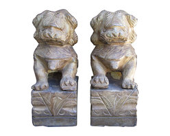 Golden Lotus - Pair Chinese Stone Carving FenShui Foo Dog Statue - This is a pair of Chinese fenshui Foo Dog which is made of solid stone.