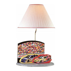 Lite Source - Lite Source Nascar Kids Table Lamp X-70105CN3 - From the Nascar Collection, this Lite Source kids lamp features a traditionally designed Shade that allows focus to remain on the charming details of the base. This kids Table Lamp features an off-white pleated Fabric Shade and solid Wood base with Nascar-inspired details.