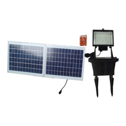 "Solar Goes Green - Solar Goes Green SGG-F156-3R LED Solar Flood Light w/ Remote Control - Solar Goes Green SGG-F156-3R LED Solar Flood Light With Remote Control 156 Super Bright LED (Lamp Measures 7"" x 6"" x 5.5"") Lamp Housing is Die Cast Aluminum with tempered glass  18 Volt, 20 Watt Poly Crystalline Solar Panel (17.7""x 14.1"" x 1"") 12 volt 7Ah Sealed Lead Acid Battery Over charge/discharge protection circuitry 9 Feet of wire between battery and solar panel and 9 Feet of wire between battery and light unit- Both with water proof connection Photo Cell On/Off Switch"