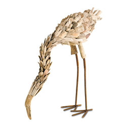 Currey & Co - Currey & Co 1060 Natural Driftwood Flamingo Sculpture - This amazing flamingo sculpture will be at home in any room, with its genuine driftwood exterior. Small pieces of actual beach wood cover a wrought iron frame to create an impressive and unique piece of art. The weathered look of the wood will blend into any room of your home. The striking Currey & Co 1060 Natural Driftwood Flamingo Sculpture can be used indoors or out.