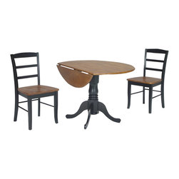"International Concepts - International Concepts 3 Piece 42"" Round Dining Set in Black/Cherry - International Concepts - Dinette Sets - K5742DPC2P2 -"