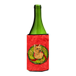 Caroline's Treasures - Norwich Terrier Christmas Wreath Wine Bottle Koozie Hugger - Norwich Terrier Christmas Wreath Wine Bottle Koozie Hugger Fits 750 ml. wine or other beverage bottles. Fits 24 oz. cans or pint bottles. Great collapsible koozie for large cans of beer, Energy Drinks or large Iced Tea beverages. Great to keep track of your beverage and add a bit of flair to a gathering. Wash the hugger in your washing machine. Design will not come off.