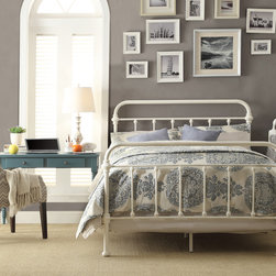 Inspire Q - INSPIRE Q Giselle Antique White Graceful Lines Victorian Iron Metal King-Sized B - Iron spindles finished in white adorn the headboard and footboard on this antique styled bed from Giselle. Add a timeless atmosphere to your home with this elegantly crafted bed.