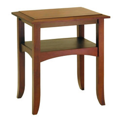 Winsome Wood - Craftsman Inspired Wood End Table w Display S - * Craftsman Collection. Walnut finish. Pine Wood. Flare-tip legs. Traditionally profiled trim. Single shelf offers the nice spot to display decor items. Assembly required. 17.35 in. L x 22.5 in. W x 26 in. H. 20 lbs