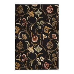 Nourison Rugs - In Bloom Black Area Rug - INB09-Black - Brand: Nourison