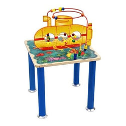 Anatex Submarine Rollercoaster Bead Table - Kids can live for an afternoon on a yellow submarine with the super-bright Anatex Submarine Rollercoaster Bead Table. As each oversized differently shaped bead is wound around the rollercoaster's spokes kids can practice color recognition counting and hand-eye coordination. When their friends and siblings join in the fun they'll develop cooperative play and social skills too. Teach eager playmates about colorful coral reefs exotic fish and sea critters. Recommended for children age 3 and older.