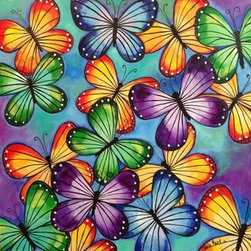 Come Fly With Me (Original) by Carla Bank - COme fly with me, let's fly, let's fly away. Butterflies fluttering around my canvas. Acrylic on canvas.
