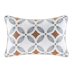 Artology - Sakura Oblong Embroidered White, Gray, Gold Pillow   12 x 18 - This embroidered white decorative pillow features a geometric design with a gold diamond motif and light gray flower petals.