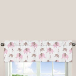 Sweet Jojo Designs - Sweet Jojo Designs Mod Elephant Window Valance in Pink/Taupe - The Pink and Taupe Mod Elephant Collection of bedding and accessories from Sweet Jojo Designs will help you design an incredible room for your child. This adorable set features a fun elephant print and pink, taupe and white colors.