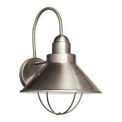 """Kichler 1-Light Outdoor Fixture - Brushed Nickel Exterior - One Light Outdoor Fixture The aluminum construction has been finished in a clean brushed nickel hue that accentuates blend of traditional and maritime inspired lines on this energy efficient lighting outdoor wall sconce from the seaside collection. U. L. Listed for wet locations. Dark sky compliant. Height from center outlet: 9"""""""