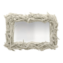 Custom Driftwood Mirror: White Gloss - Oh my how much I want this handmade driftwood mirror. Yes, you may see some around elsewhere, but no one has any that compare to the ones at Pieces, and each one is a true work of art. It brings natural elements into the home, but the white gloss finish makes it so much more interesting and artful.