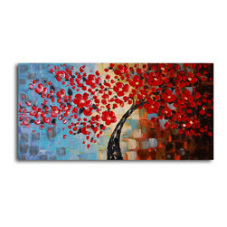 "Bouquet of textured red Hand Painted Oil Painting - Size: 20"" x 40"""