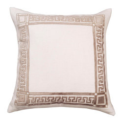 "Lili Alessandra - Lili Alessandra Dimitri Fawn Decorative Pillow - Lili Alessandra is known for unique and distinctive linens marked by elaborate prints, plush fabric and elegant details. Sophisticated luxury marks the Dimitri decorative pillow's rich ivory silk and rayon design. This square bedding accessory supplies global allure and glamour with a Greek key-inspired applique in fawn taupe velvet. Includes 95/5 down-filled insert and zipper closure. Dry clean only. Lili Alessandra textiles reflect a handmade artistry that may result in slight and expected variations. 24""W x 24""H."