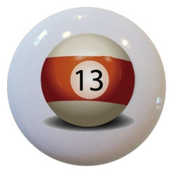 Carolina Hardware and Decor, LLC - Billiards 13 Pool Ball Ceramic Knob - New 1 1/2 inch ceramic cabinet, drawer, or furniture knob.  Mounting hardware included.   Can be wiped clean with a soft damp cloth. Great addition and nice finishing touch to any room!