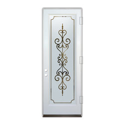 Sans Soucie Art Glass (door frame material Plastpro) - Glass Front Entry Door Sans Soucie Art Glass Carmona - Sans Soucie Art Glass Front Door with Sandblast Etched Glass Design. Get the privacy you need without blocking light, thru beautiful works of etched glass art by Sans Soucie!This glass is semi-private. Door material will be unfinished, ready for paint or stain.Bronze Sill, Sweep.Satin Nickel Hinges. Available in other finishes, sizes, swing directions and door materials.Dual Pane Tempered Safety Glass.Cleaning is the same as regular clear glass. Use glass cleaner and a soft cloth.