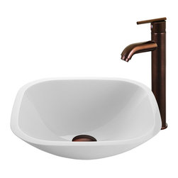 Vigo Industries - Glass Vessel Sink with Faucet - The VIGO Square Shaped White Phoenix Stone Glass Vessel Sink with a Modern Oil Rubbed Bronze Faucet brings a contemporary yet elegant look to your home. The VG07040 square shaped white vessel bowl with sleek flat edge combines the durability and natural aesthetics of granite, marble, ceramic and glass. Water pressure tested for industry standard. This VIGO vessel bowl and faucet set is cUPC and NSF-61 certified by IAPMO.