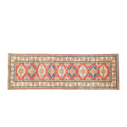 1800-Get-A-Rug - Kazak Oriental Rug Runner Hand Knotted Rug Red Geometric Sh11289 - About Tribal & Geometric