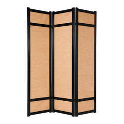 Oriental Unlimted - 6 ft. Tall Traditional Jute Shoji Screen (3 Panels / Rosewood) - Finish: 3 Panels / RosewoodA wonderful addition to your home, this Japanese Shoji screen uses woven jute panels in place of rice paper for added privacy and a more neutral tone. Raminwood frame has a black finish and two-way hinges provide versatility. Screens may vary slightly in color. A substantial and unique variation of a traditional Japanese shoji screen. With woven jute panels. A great choice where the white paper of traditional style shoji room divider screens may not fit with the decor. East Asian style mortise and tenon joinery used. Shade is strong. Tightly woven jute that blocks light and provides complete privacy. Panel frames are crafted from durable and lightweight beautifully finished Spruce wood. Lacquered brass. 2-Way hinges mean you can bend the panels in either direction. Black finish. Assembly required. Each panel: 17.5 in. W x .75 in. D x 71 in. H. 3 Panels: 53 in. wide (flat). Approximately 45 in. wide (panels folded to stand upright)