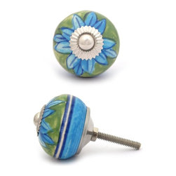 """Potteryville - Ceramic Knobs, Turquoise Flower with Green Base - Turquoise flower with Green base ceramic knob, perfect for your kitchen and bathroom cabinets! The knob is 1.5"""" in     diameter and includes screws for installation."""