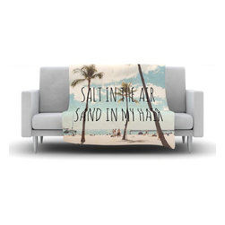 """Kess InHouse - Nastasia Cook """"Salt in the Air"""" Beach Trees Fleece Blanket (90"""" x 90"""") - Now you can be warm AND cool, which isn't possible with a snuggie. This completely custom and one-of-a-kind Kess InHouse Fleece Throw Blanket is the perfect accent to your couch! This fleece will add so much flare draped on your sofa or draped on you. Also this fleece actually loves being washed, as it's machine washable with no image fading."""