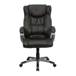 Flash Furniture - High Back Espresso Brown Leather Executive Office Chair - This is a very attractive brown leather high back office chair that displays contemporary flair. Comfortably padded and attractive padded loop arms are very pleasing to the eye. The titanium nylon base with black caps prevents feet from slipping. With so many eye-catching features it is sure to meet your approval in comfort and attractiveness.
