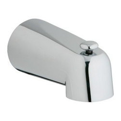 "GROHE - Grohe 5"" Diverter Tub Spout - Starlight Chrome - Leave it to industry leader Grohe to improve on the traditional diverter design with the arrival of the Grohe 5"" Diverter Tub Spout. Cutting-edge engineering works flawlessly with this fresh take on the classic-yet-contemporary design, featuring Grohe exclusive StarLight plating technology. Starting with their unique StarLight plating process, Grohe sub-plates layers of copper or nickel, depending on the surface, to ensure a flawless non-porous base for their dazzling finish layer. StarLight ensures a luminous mirror-like sheen that is resistant to scratches and tarnishing for years of stunning, trouble-free use. Features & SpecsWall mount1/2"" slip fit View Spec Sheet"