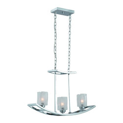 """Triarch - Triarch Yachting Club """"yachting Club"""" 3 Light Island - Chrome X-HC-32593 - Anchors away! Capture a nautical mood with these whimsical seafaring designs.  Sail away to cool (chrome with iced glass) waters.  The yachting club 3 light island light in a chrome finish and white iced glass."""