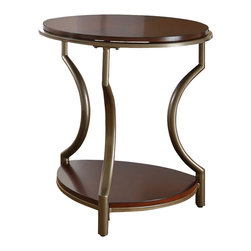 "Steve Silver Furniture - Steve Silver Maryland End Table in Medium Cherry - End Table in Medium Cherry belongs to Maryland Collection by Steve Silver The Maryland round end table completes your d?cor with style and elegance.  Birch veneer tops and shelves in a rich medium cherry finish are accented by the pewter look curved legs and frames.  A durable powder coat metal finish protects from rust and scratches. The Maryland round end table is 22"" x 22"" x 25"".  End Table (1)"