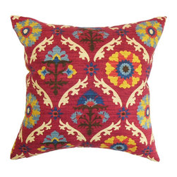 "The Pillow Collection - Carmelo Floral Pillow Red 18"" x 18"" - Bring a splash of bright colors to your living space with this pretty throw pillow. This accent pillow is adorned with a floral and geometric patterns in shades of red, orange, yellow, blue, black and white. This 18"" pillow is designed to fit most furniture pieces, including chair, sofa, bed and more. Made from 100% durable and plush cotton material. Hidden zipper closure for easy cover removal.  Knife edge finish on all four sides.  Reversible pillow with the same fabric on the back side.  Spot cleaning suggested."