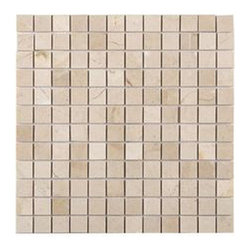 """Marbleville - Crema Marfil 1"""" x 1"""" Tumbled Marble Mosaic in 12"""" x 12"""" Sheet - Premium Grade Crema Marfil 1"""" x 1"""" Tumbled Finish Mesh-Mounted is a splendid Tile to add to your decor. Its aesthetically pleasing look can add great value to any ambience. This Mosaic Tile is made from selected natural stone material. The tile is manufactured to high standard, each tile is hand selected to ensure quality. It is perfect for any interior projects such as kitchen backsplash, bathroom flooring, shower surround, dining room, entryway, corridor, balcony, spa, pool, etc."""