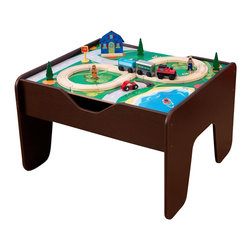 KidKraft - 2 In 1 Activity Table With Board, Espresso by Kidkraft - Our 2-in-1 Activity Table with Board is a fun gift idea for any young, imaginative child. The play board is compatible with LEGO products and parents are sure to love how the sturdy table keeps playtime off the floor. The stylish espresso finish is also a big plus this train table is sure to look great in any kid�s bedroom.