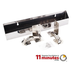 """Hardware Resources - 14-3/4"""" Stainless Steel Tipout 2 Shallow Tray Set - 14 3/4"""" Shallow Sink Tipout Tray Pack.  Stainless Steel.  1 9/16"""" Deep x 3"""" Tall.  Sold per pair.  Two sets of hinges  two trays  and 20pcs screws included."""