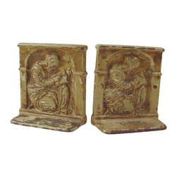 "Decorative Arts League - Consigned Vintage Scholar Enamel Cast Iron Bookends - Vintage cast iron bookends circa 1920s, enameled in a taupe/cream depicting a scholar writing in a book.  Great old shabby look with chipped paint, marked ""DAL"" (Decorative Arts League) on back."