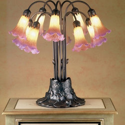 Meyda Tiffany - Meyda Tiffany Lamps Table Lamp in Mahogany Bronze - Shown in picture: Amber/Purple Pond Lily 10 Lt Table Lamp; One Of The Most Popular Louis Comfort Tiffany Styled Lamps On The Market Today - Recreating His Famous Favrile Design From The Early 1900's. This Mottled Amethyst Tipped Amber Shaded Ten Light Table Lamp Offers An Attractive - Delicate Design Featuring Shades Mouth Blown Of Fine Art Glass. Lily Shades Are Suspended From Stems Delicately Winding Above A Lily Pad Base Finished By Hand In Mahogany Bronze.