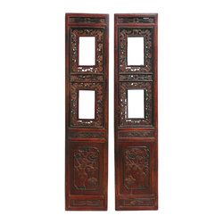 Golden Lotus - Pair Chinese Antique Flower Vase Carving Screen Door Panel - This is a Chinese antique panel which is made of solid elm wood. The front of panel comes with detail flower and vase carving on it. It could be used as screen wall panel deco.