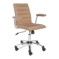 Leick Furniture - Leick Furniture Saddle Faux Leather Pleated Desk Chair in Light Brown - Leick Furniture - Office Chairs - 10051LB - Soft, brown faux leather over a chrome star castered base offer a classic desk chair solution. Adjustable seat height, back angle tensioner and full swivel adapt this chair to your specific needs.