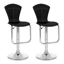 Sonax - Sonax CorLiving Tapered Back Bar Stool in Black Leatherette (Set of 2) - Sonax - Bar Stools - B202VPD - Add spice to any bar or kitchen island with the featuring a comfortable padded continuous form seat with a tapered high backrest and finished in a Black soft leatherette. The gas lift adjusts the seat to a variable bar height while the finely detailed stitch pattern, a chrome gas lift and base adds a contemporary touch to any setting. A great addition to any home!