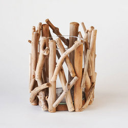 Point Reyes Driftwood Votive - Large - Cast a soft glow in any room with the Point Reyes Driftwood Votive. The glass insert is encased and adorned with organic, natural driftwood, bringing texture and a natural element from the outdoors to the fall table.