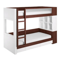 Nurseryworks Duet Bunk Bed - Merging both a white and dark finish, and combining sleeping quarters, this bunk bed has it all. Providing versatility and great organization for a shared and often-chaotic room, the beds can be stacked or not and the storage can be altered, offering you exactly what you want.