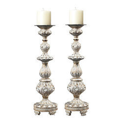 Sterling Industries - Sterling Industries 93-10045/S2 Candle Holders In w/ w/ Gold Highlight - Candleholder (2)