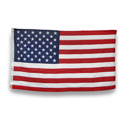 Zeckos - Heavy Duty Nylon American Flag 3 Foot x 5 Foot with Brass Grommets - This awesome 5 foot by 3 foot American flag is made of heavy duty 600 denier nylon. It has a double thick header, a triangle stitch on each corner and 4 lines in the fly end, all of which help the flag last longer, without unraveling or shredding. It has brass grommets, and comes with 2 brass outrigger clips to secure the flag to your halyard. It makes a great gift.