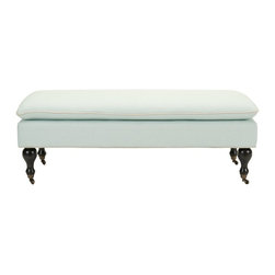 Safavieh - Safavieh Hampton Pillowtop Bench X-E9328DUH - Elegant and refined, the Hampton Pillowtop Bench evokes understated transitional style. Richly detailed with contrasting welting, nailhead trim and gracefully-turned British bun foot legs, this sleekly upholstered bench doubles as an ottoman. Crafted of beech wood in dark walnut finish and covered in beige linen, Hampton comes with casters for easy mobility.