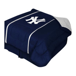 "Zappysales - New York Yankees Sidelines Comforter Queen - Comforter Full/Queen 86"" x 86"". Covers are 100% Polyester Jersey top and bottom side, filled with 100% Polyester Batting. Logos are screenprinted. Machine washable in warm water, and tumble dry on low heat."