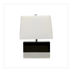 worlds away - Worlds Away Foley Black Lacquer with Nickel Table Lamp - BLACK LACQUER RECTANGULAR LAMP WITH NICKEL BASE AND WHITE RECTANGULAR SHADE. LAMP USES (1) 60 WATT BULB AND COMES WITH 8' CLEAR CORD SET.