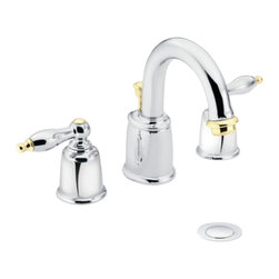 Moen - Moen T4985CP Castleby Chrome/Polished Brass Two-Handle High Arc Lavatory Faucet - This Castleby High Arc Lavatory Faucet features two lever handles for precise temperature and volume control, a widespread installation, a 2.2 GPM flow rate, and a metal pop-up assembly. This model comes in a bright, Chrome finish with Polished Brass accents.