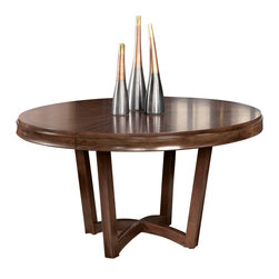 American Drew - American Drew Miramar Round Dining Table in Auburn on Prima Vera - Belongs to Miramar Collection by American Drew, Auburn on Prima Vera Finish, Smoky Brown Accents, 118 Leaf, Extends to 74 , Round Table Top Shape, Table Base 1, Table Top 1