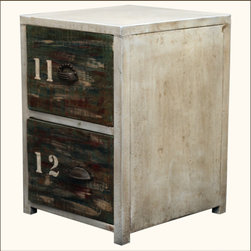 Industrial Reclaimed Wood & Iron End Table 2-Drawer Night Stand -